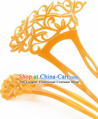 Japanese Traditional Courtesan Yellow Hairpins Ancient Geisha Kimono Hair Accessories for Women