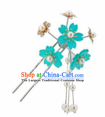 Japanese Traditional Kimono Hair Accessories Ancient Yukata Lake Blue Cherry Blossom Tassel Hairpins for Women