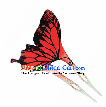 Japanese Traditional Courtesan Red Butterfly Hairpins Ancient Geisha Kimono Hair Accessories for Women