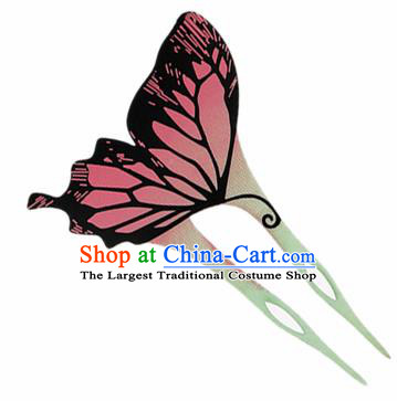 Japanese Traditional Courtesan Pink Butterfly Hairpins Ancient Geisha Kimono Hair Accessories for Women