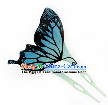 Japanese Traditional Courtesan Blue Butterfly Hairpins Ancient Geisha Kimono Hair Accessories for Women