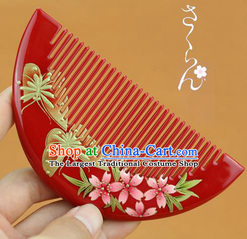 Japanese Traditional Courtesan Kimono Red Lacquer Hair Comb Ancient Geisha Hair Accessories for Women