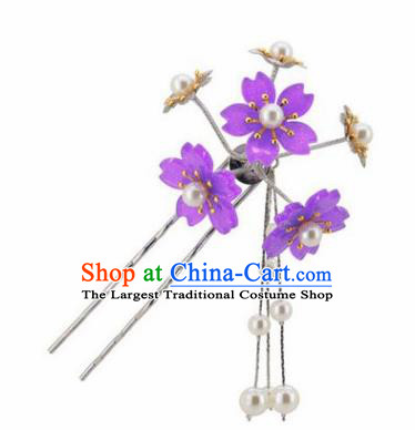 Japanese Traditional Kimono Hair Accessories Ancient Yukata Purple Cherry Blossom Tassel Hairpins for Women
