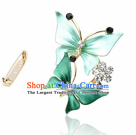 Japanese Traditional Courtesan Kimono Green Butterfly Brooch Ancient Geisha Accessories for Women