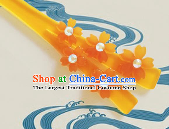 Japanese Traditional Courtesan Kimono Orange Sakura Hairpins Ancient Geisha Hair Accessories for Women