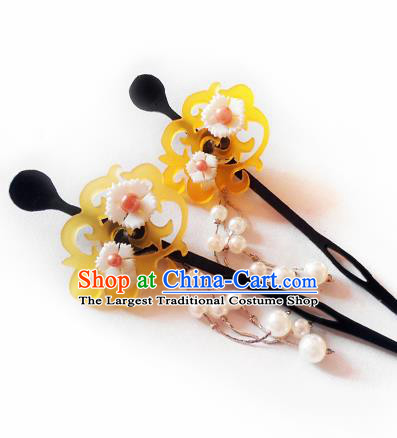 Japanese Traditional Courtesan Kimono Pearls Tassel Hairpins Ancient Geisha Hair Accessories for Women