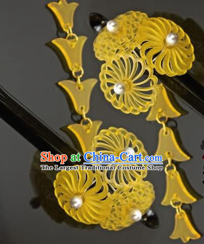 Japanese Traditional Courtesan Kimono Yellow Hairpins Ancient Geisha Hair Accessories for Women