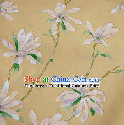 Asian Japanese Traditional Kimono Yellow Fabric Material Classical Orchid Pattern Design Drapery