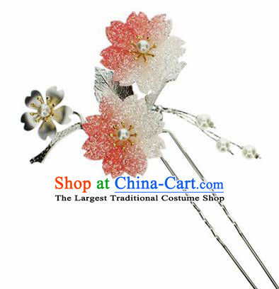 Japanese Traditional Kimono Red Sakura Hairpins Ancient Geisha Hair Accessories for Women