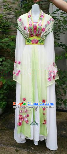 Chinese Traditional Beijing Opera Actress Costumes Ancient Nobility Lady Embroidered Green Dress for Women