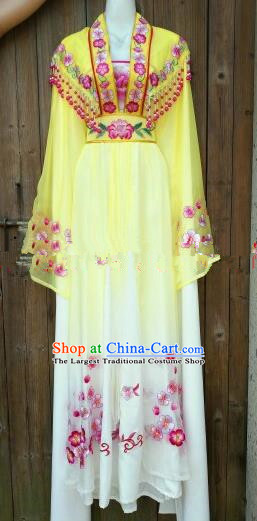 Chinese Traditional Beijing Opera Princess Costumes Ancient Nobility Lady Embroidered Yellow Dress for Women