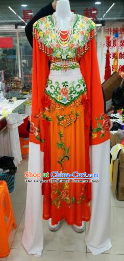 Chinese Traditional Beijing Opera Princess Red Silk Dress Ancient Peri Embroidered Costumes for Women
