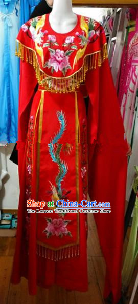 Chinese Traditional Beijing Opera Empress Red Dress Ancient Peri Embroidered Costumes for Women