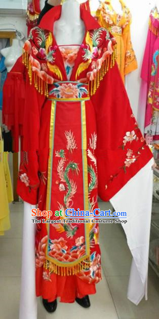 Chinese Traditional Beijing Opera Actress Empress Red Dress Ancient Palace Embroidered Costumes for Women