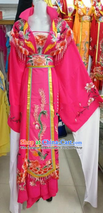 Chinese Traditional Beijing Opera Actress Empress Rosy Dress Ancient Palace Embroidered Costumes for Women