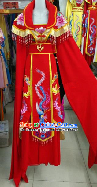 Chinese Traditional Beijing Opera Actress Imperial Consort Red Dress Ancient Palace Embroidered Costumes for Women