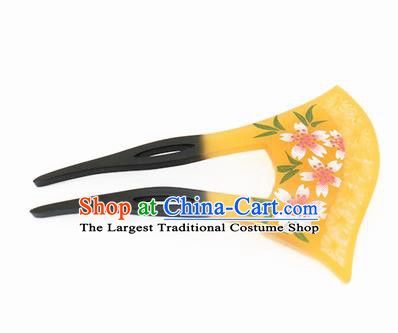 Japanese Traditional Kimono Yellow Hairpins Ancient Geisha Hair Accessories for Women