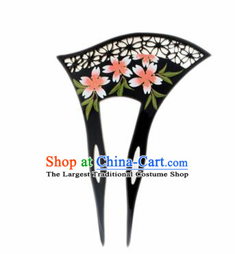 Japanese Traditional Kimono Black Hairpins Ancient Geisha Hair Accessories for Women