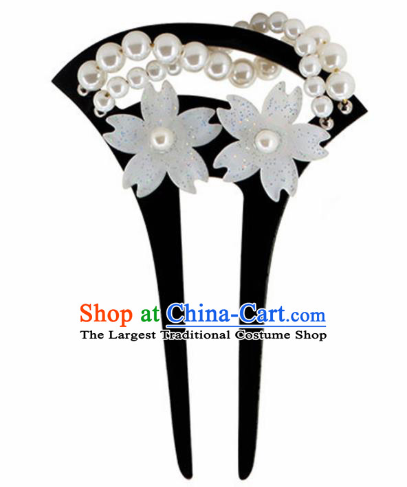 Japanese Traditional Kimono Pearls Black Hairpins Ancient Geisha Hair Accessories for Women