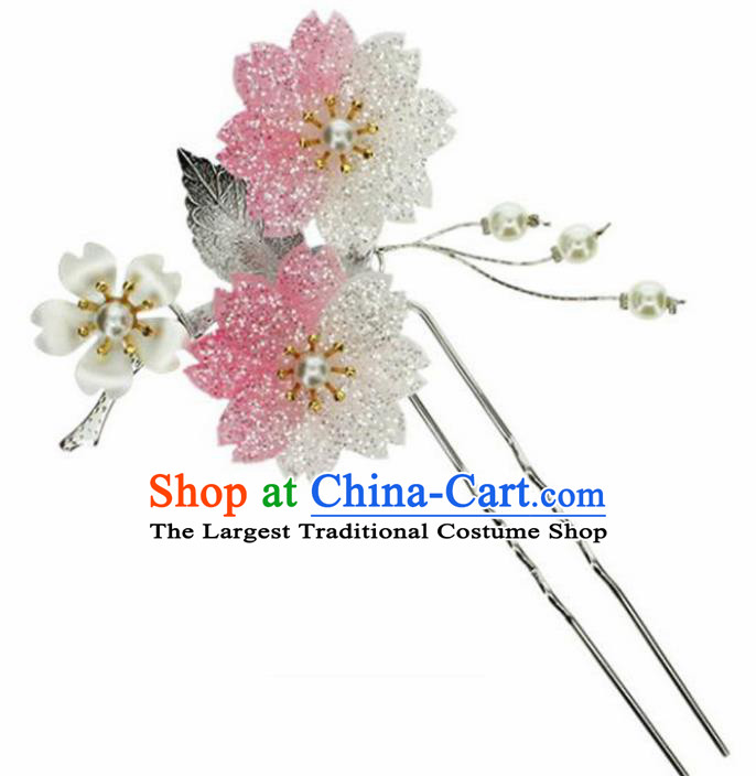 Japanese Traditional Kimono Pink Sakura Hairpins Ancient Geisha Hair Accessories for Women