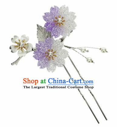 Japanese Traditional Kimono Purple Sakura Hairpins Ancient Geisha Hair Accessories for Women