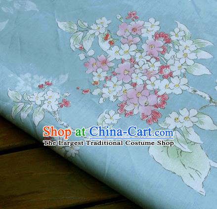 Asian Japanese Traditional Kimono Blue Fabric Material Classical Flowers Pattern Design Drapery