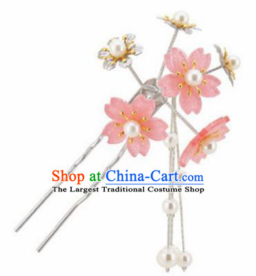 Japanese Traditional Kimono Hair Accessories Ancient Yukata Light Pink Cherry Blossom Tassel Hairpins for Women