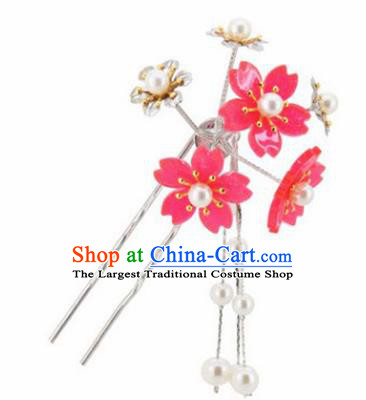 Japanese Traditional Kimono Hair Accessories Ancient Yukata Peach Pink Cherry Blossom Tassel Hairpins for Women