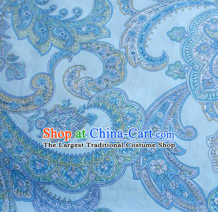 Asian Japanese Traditional Kimono Blue Fabric Material Classical Pattern Design Drapery