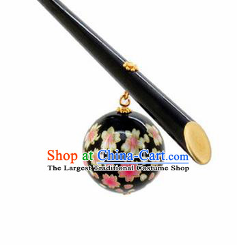 Japanese Traditional Hair Accessories Ancient Courtesan Kimono Black Hairpins for Women