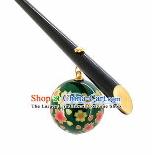Japanese Traditional Cherry Blossom Hair Accessories Ancient Courtesan Kimono Green Hairpins for Women