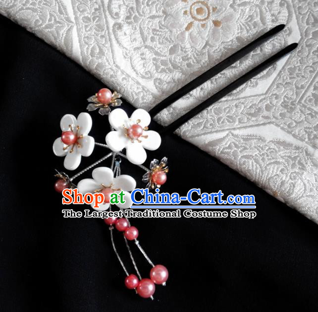 Japanese Traditional Hair Accessories Ancient Courtesan Kimono White Cherry Blossom Tassel Hairpins for Women