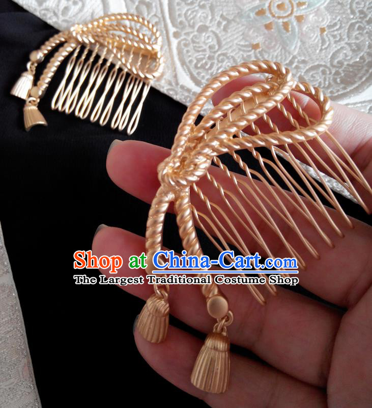 Japanese Traditional Hair Accessories Ancient Courtesan Kimono Golden Hair Comb for Women