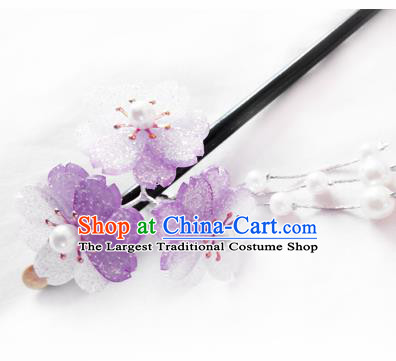 Japanese Traditional Hair Accessories Ancient Courtesan Kimono Purple Cherry Blossom Hairpins for Women