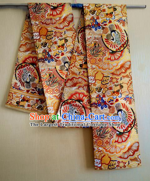 Japanese Traditional Kimono Golden Brocade Belts Ancient Furisode Yukata Waistband for Women