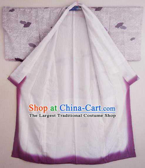 Japanese Traditional Courtesan Iromuji Kimono Costumes Ancient Cosplay Lilac Yukata Clothing for Women