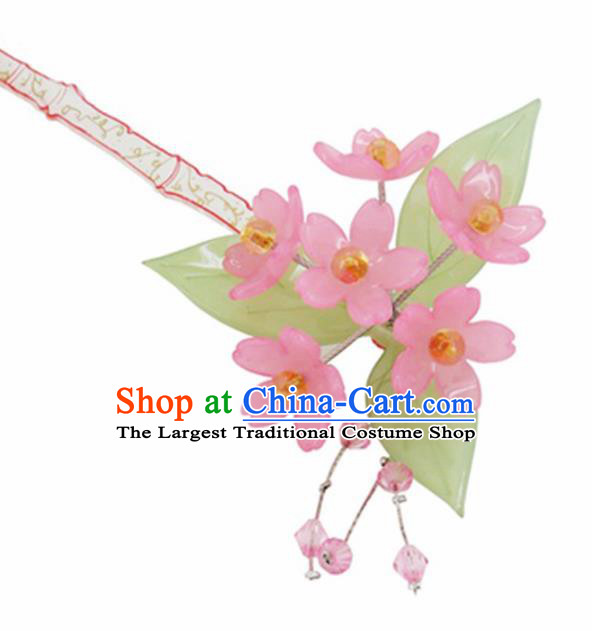 Japanese Traditional Courtesan Pink Sakura Hairpins Ancient Geisha Kimono Hair Accessories for Women
