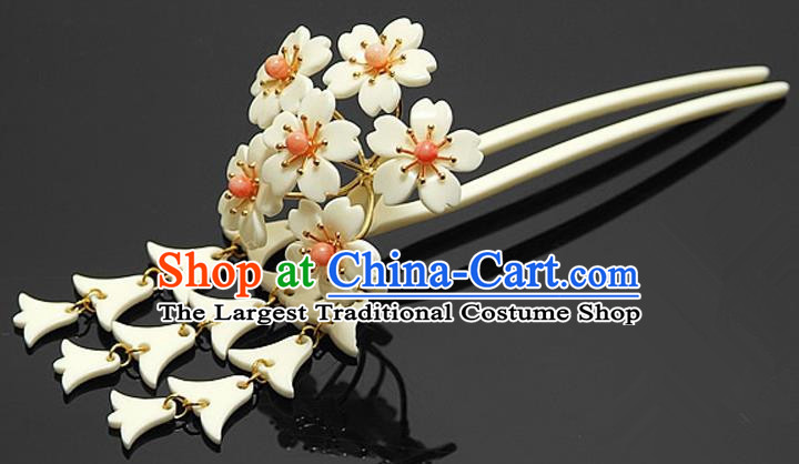Japanese Traditional Courtesan Hair Accessories White Sakura Hair Clip Ancient Kimono Yukata Tassel Hairpins for Women