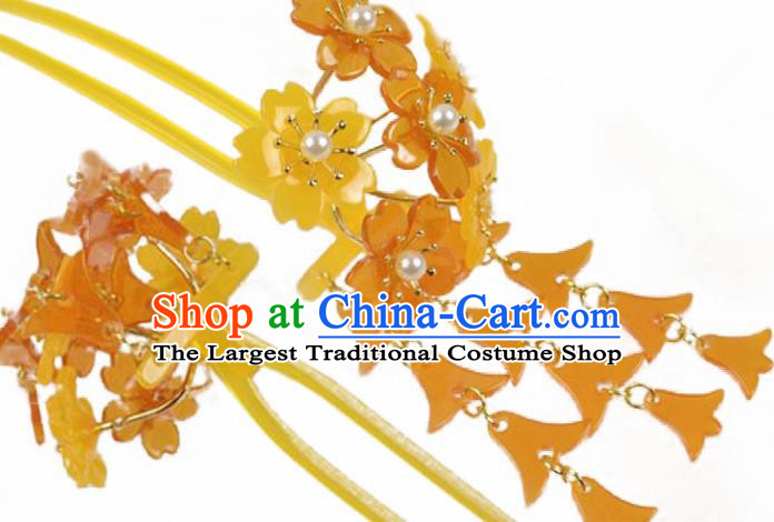 Japanese Traditional Courtesan Hair Accessories Orange Sakura Hair Clip Ancient Kimono Yukata Tassel Hairpins for Women