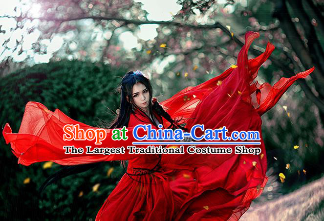 Chinese Traditional Ancient Swordswoman Embroidered Costumes Cosplay Female Assassin Red Hanfu Dress for Women