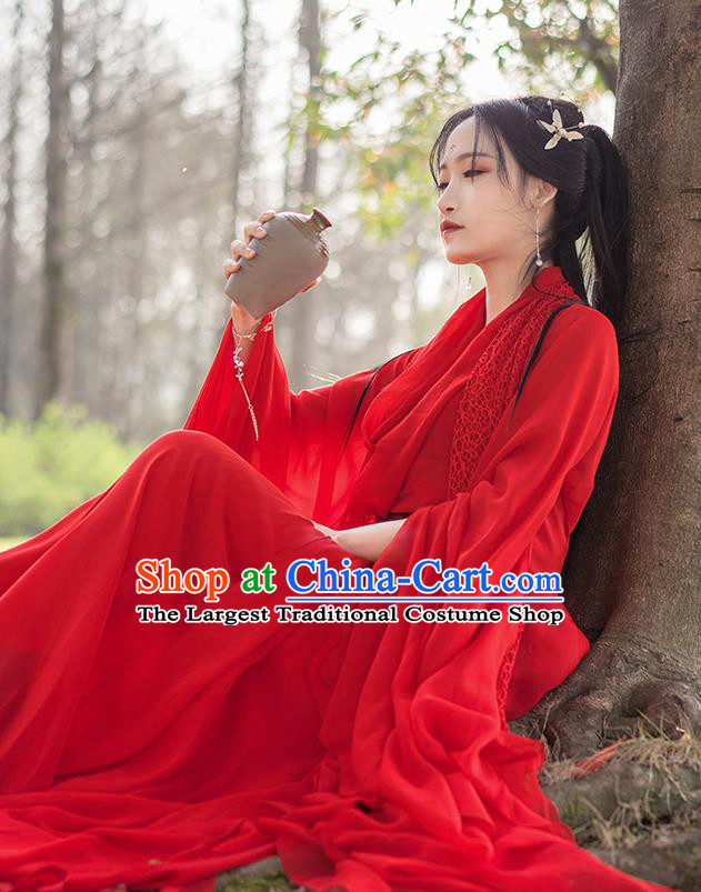Chinese Traditional Ancient Princess Embroidered Costumes Cosplay Female Assassin Red Hanfu Dress for Women