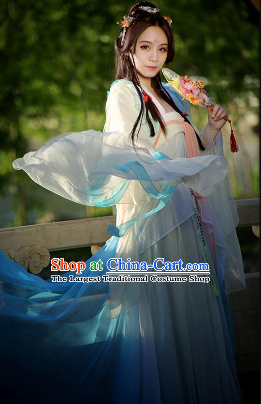 Chinese Ancient Cosplay Peri Costumes Traditional Tang Dynasty Princess Embroidered Hanfu Dress for Women