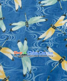 Asian Japanese Traditional Kimono Blue Brocade Fabric Silk Material Classical Dragonfly Pattern Design Drapery