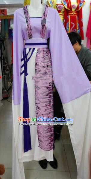 Chinese Traditional Beijing Opera Diva Purple Dress Ancient Young Lady Costumes for Poor