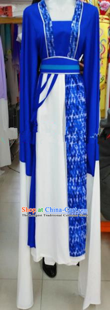 Chinese Traditional Beijing Opera Diva Blue Dress Ancient Young Lady Costumes for Poor