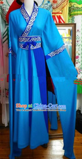 Chinese Traditional Beijing Opera Village Women Blue Dress Ancient Young Lady Costumes for Poor
