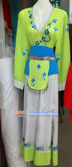 Chinese Traditional Peking Opera Maidservants Green Dress Ancient Young Lady Embroidered Costumes for Poor