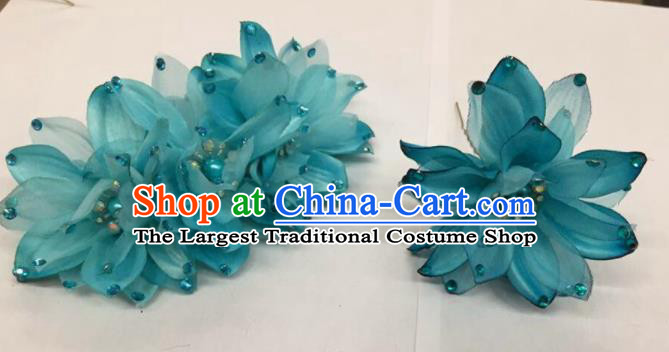 Chinese Traditional Beijing Opera Blue Flowers Hairpins Ancient Peri Hair Accessories for Women