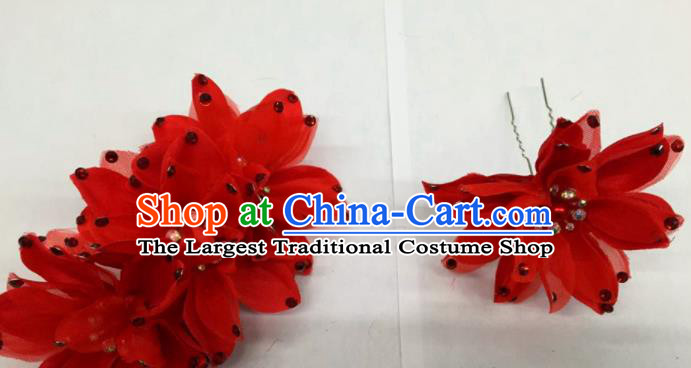 Chinese Traditional Beijing Opera Red Flowers Hairpins Ancient Peri Hair Accessories for Women