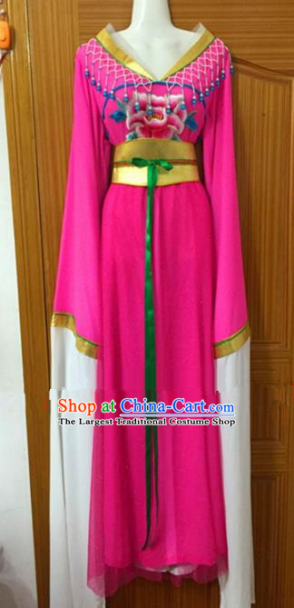 Chinese Traditional Peking Opera Peri Rosy Dress Ancient Maidservants Embroidered Costumes for Women